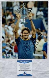 Roger Federer signed 8x10 tennis photo US Open Beckett BAS