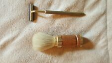 Safety Razor and Matching Shaving Soap Brush Gold Toned Unbranded