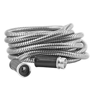Heavy Duty Puncture Proof Metal Super Durable Garden Hose in Stainless Steel