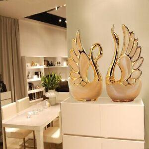 THINKEASY 2PCS/SET Swan Lovers Home Decor Ceramic Crafts Porcelain Animal
