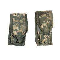 2 USGI ACU Double Mag Pouch Army MOLLE II Digital Camo 2 Magazine, DEFECT