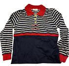 Vintage Cellini Nautical Long Sleeve Horizontal Striped Top Red White Blue 46