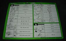 Inspektionsblatt Toyota Camry Diesel CV20 Werkstatt Service Blatt Stand 08/1988