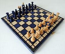 NUEVO hecho a mano Kingdom Juego de ajedrez de madera 31cm/30.5cm Azul