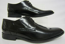 Mens Hush Puppies Black Polished Leather Lace up Formal Shoes Kensington UK 10