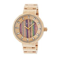NEW Earth EW2505 Root Unisex EcoFriendly MultiColor Stripe Dial Khaki Wood Watch