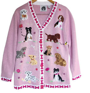 Storybook Knits NWT Womens Med Cardigan Sweater Pink Puppy Dog Beaded Sequins