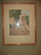 Original Antique Watercolor Picture Art Wood Glass Painting Street Scene 1926