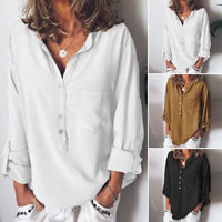 ZANZEA Womens Collared Long Sleeve Solid Tops Ladies Casual Shirt Blouses Tunic