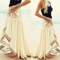 Boho Hippie Ladies Chiffon Irregular Long Maxi Skirt Summer Beach Casual Dress