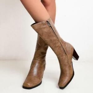 Retro Mid-Heel Calf Boots Women Faux Leather Side Zipper Square Toe Heels Shoes