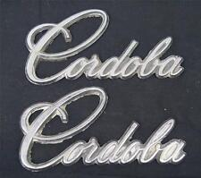 Vintage Chrysler Cordoba 1970's Script Emblem Name Badge Pair