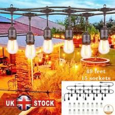 More details for 49ft led festoon garden string light main heavy duty 15pc bulbs outdoor lighting