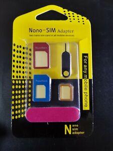5 Piece Nano/Micro/Standard Sim Adaptor kit for all phones