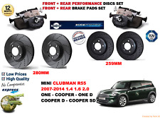 FOR MINI COOPER R55 CLUBMAN 07-14 FRONT REAR PERFORMANCE BRAKE DISC SET PAD KIT