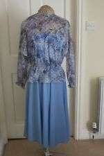 Vintage Blue Strappy dress elastic waist includes lace long sleeve top size 12