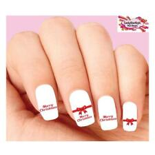 Waterslide Holiday Nail Decals Set of 20 - Merry Christmas Red Bow Assorted