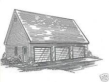 38x26 3 Car Garage Building Blueprint Plans w/ Walk up Loft & Rear Overhead Door