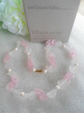 US AVON Pastel Blossoms Pearl Choker Necklace Jewelry 1986 Collection