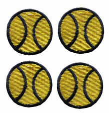 #2491Y Lot 4Pcs Yellow Tennis Ball Embroidery Iron On Applique Patch