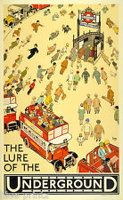 London train tube underground A1 canvas Vintage  Print advert art painting