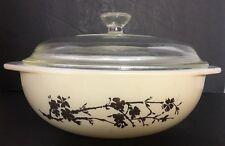 RARE PYREX Golden Branch 024 Round Casserole Bowl Dish 2 Qt and Glass Lid 408