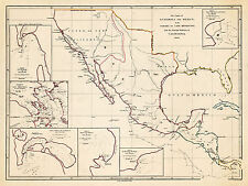 1839 Map Coasts of Guatemala and Mexico from Panama To Cape Mendocino Art Poster
