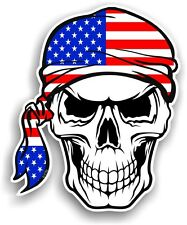 Skull With HEAD Bandana American Stars & Stripes US Flag vinyl car sticker decal