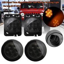4Pcs LED Front Turn Signal + Fender Side Marker Light For Jeep Wrangler JK 07-17