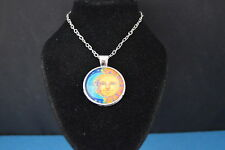 SUN & MOON  colorful  Cabochon  PENDANT -  NECKLACE   New!  Jewelry  USA SELLER!