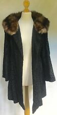 RUSSIAN SABLE FUR COLLAR SWAKARA FUR SWING COAT - EX COND! Immaculate Vintage