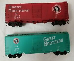 ACCURAIL HO 40' AAR STEEL BOXCAR SET of 2 GREAT NORTHERN 11442 & 18866  - RTR