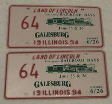 1994 GALESBURG ILLINOIS 17 ANNUAL RAILROAD DAYS LICENSE PLATE Pair