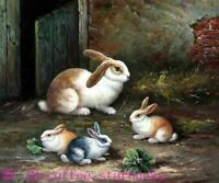 ZWPT1462  100% hand painted fours rabbits animals oil painting art on Canvas