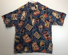 "Hawaiian Aloha Style Shirt XL 49"" NALU - Blue tapa with scenic postcards"