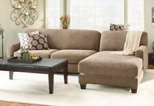 Stretch Piqué Five Piece Sectional Slipcover - Right Chaise TAUPE  NEW
