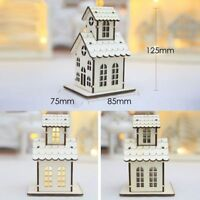 Christmas Hanging Ornaments LED Lights Wooden House Xmas Tree Decoration Gift