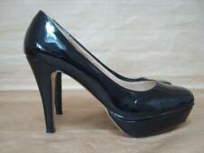 DOROTHY PERKINS UK 4 BLACK PATENT PLATFORM COURT SHOES