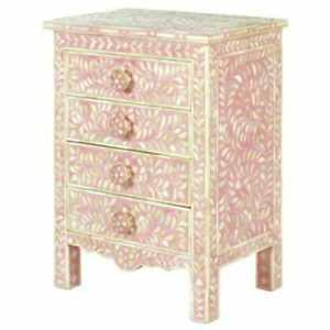Pink  bone inlay bedside table side table nightstand furniture