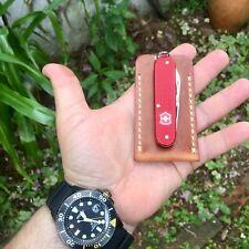 Pocket Knife Slip Sheath Case For Knives EDC Horween Tan Dublin Leather
