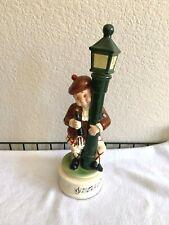 Vintage Music Box Figurine Decanter Scotman All Lit Up on Street Lamp 1960's