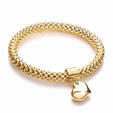 J-Jaz Gold plated Sterling silver flexible mesh bracelet with heart charm