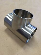 "4"" Equal Tee Sanitary T316L Stainless Steel Pol OD/ID 7WWW Butt-Weld NEW"