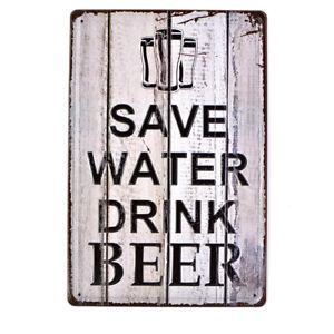 Drink Beer Poster Tavern Vintage Tin Metal Signs Pub Bar Decor Art Wall Hanging