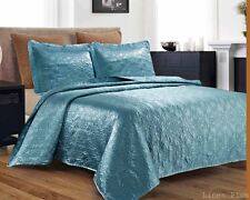 3 Piece Silky Satin Light Turquoise Quilted Bedspread Coverlet Set Queen Size