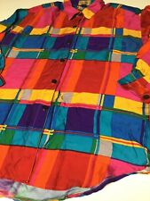 New listing Vintage Colorblock 100% Silk Silk House Size Large Shirt