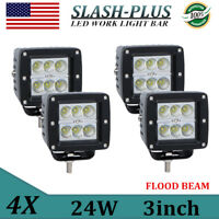 """4X 3""""inch 24W Offroad LED Work Light Flood Driving Pods Forklift  Toyota ATV 18W"""