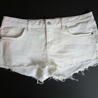 New Topshop Moto DAISY Cut-off Button-Fly White Denim Jean Shorts Sz 10 US 6313