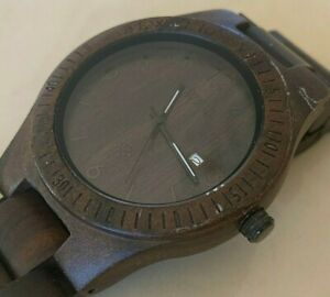 Bewell Mens All Dark Brown Solid Wood Analog Quartz Watch Hours~Date~New Battery