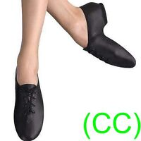 JAZZ DANCE SHOES Black unisex Leather split suede sole pumps irish hard jig (CC)